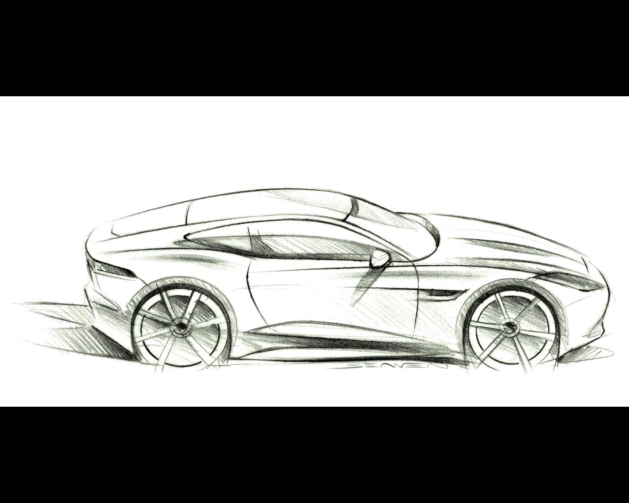 Jaguar f type coup 2014 - Dessin voiture profil ...